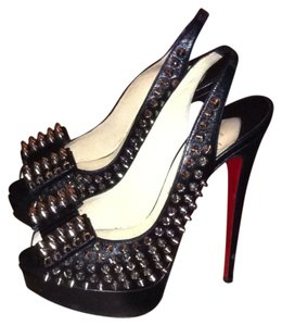 Christian Louboutin Platform Platform Red Bottoms Black Silver Spikes Pumps