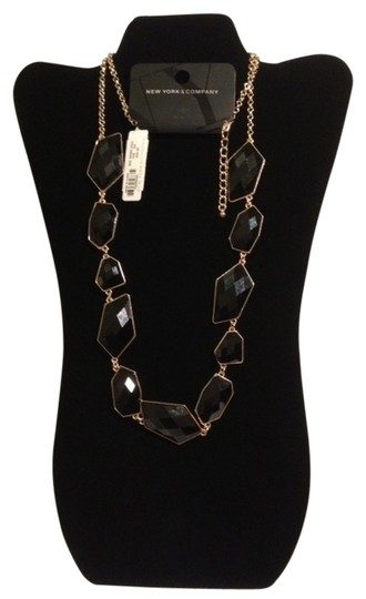 New York & Company Gold Tone Necklace with Black Stones