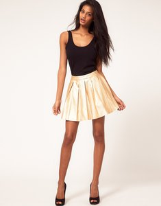 Rare London Lea Faux Leather Pleated Mini Skirt gold