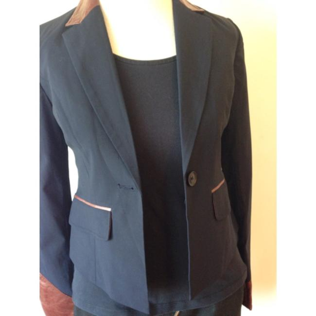 Elizabeth and James Black With Brown Lamb Leather Trim Blazer