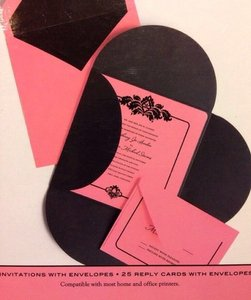 Damask Pink & Black Formal Invitation Set