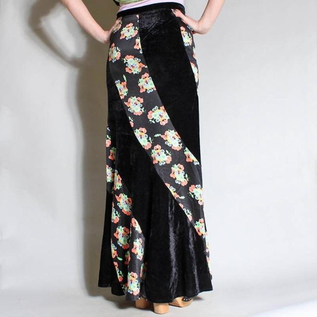 Free People Maxi Skirt black, multicolored floral