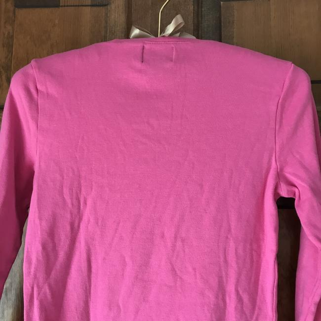 Chaps Cotton Shoestring Accents Patch Pocket Long Sleeves Pullover T Shirt Pink