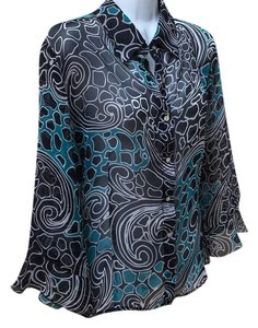 Other Nicola Sheer Travelers Layer Shirt Button Up Flowy Print Large L 12 14 Top Black white teal