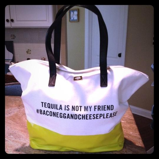 Kate Spade Yellow Call To Action Tequila Satchel Puse Large Diaper Quote Tote in green