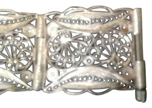 Vintage Silver Filigree Panel Bracelet Hand Made Exquisite Workmanship - Great Gift Idea