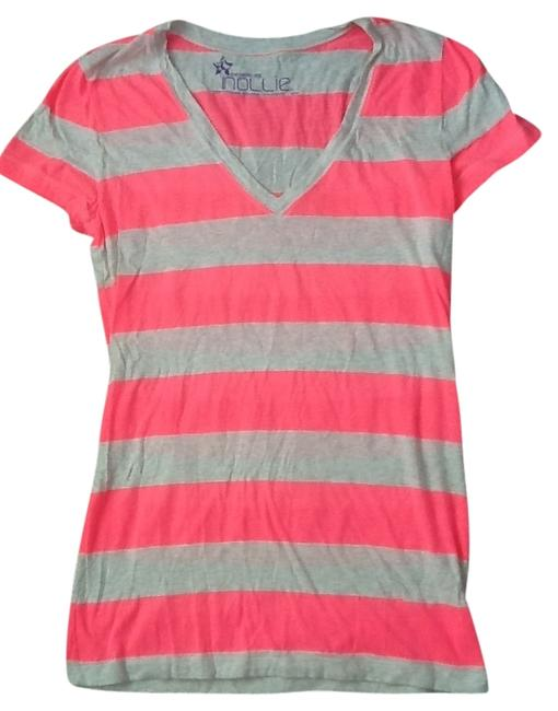 Item - Pink/Off White Striped Like New Cotton Tee Shirt Size 6 (S)