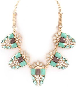 Unknown Mint and Gray Crystal Statement Necklace