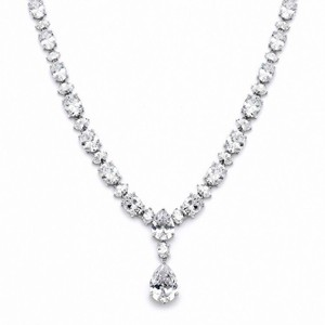 Oval Drop Statement Crystal Necklace