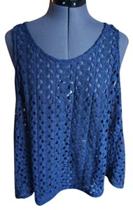 Nordstrom Open Back Slit Back Lace Top navy