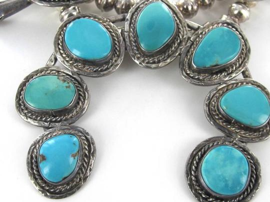 HANDMADE VINTAGE NATIVE AMERICAN TURQUOISE NECKLACE STERLING SILVER BLOSSOM SQUASH HUGE