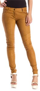 IRO Zacki Moto Leather Trousers Tan Skinny Pants Sand