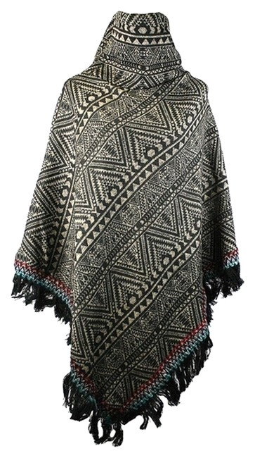 Preload https://img-static.tradesy.com/item/8310508/brown-multicolor-tribal-chic-fringe-accent-turtleneck-knit-ponchocape-size-os-one-size-0-3-650-650.jpg
