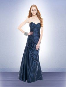 Navy Satin Style Formal Bridesmaid/Mob Dress Size 4 (S)