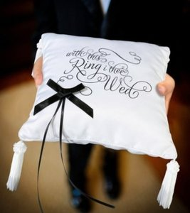 "Lillian Rose White & Black ""With This Ring I Thee Wed"" Ring Bearer Pillow"