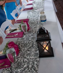 Grey Damask Table Runners