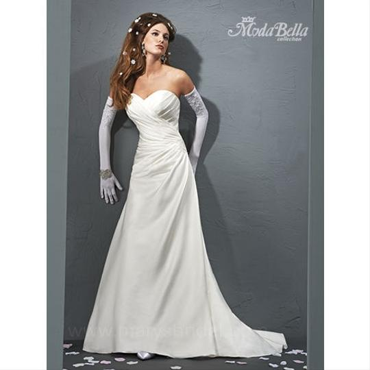 White Satin 3y283 Modern Wedding Dress Size 10 (M)