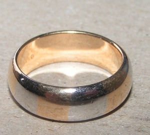 Simple Silver & Gold Comfort Fit Wedding Band Free Shipping