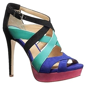 Gianni Bini Suede/patent Leather High Heel Platform Multi-Color Sandals