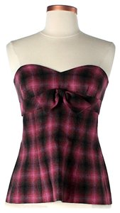 Trina Turk Wool Plaid Top Pink & Black