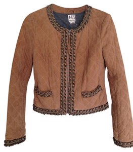 Haute Hippie Suede Chain Quilted Caramel/ Tan Leather Jacket