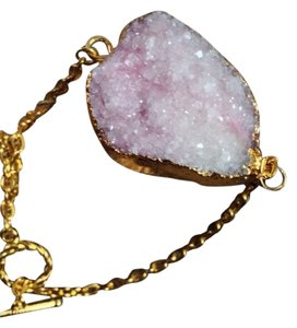 New Custom Made Large Pink Druzy goldtone bracelet