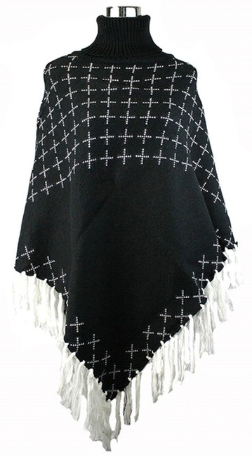 Preload https://img-static.tradesy.com/item/8317768/blackwhite-multicolor-fringe-trimmed-accent-turtleneck-knit-ponchocape-size-os-one-size-0-3-650-650.jpg