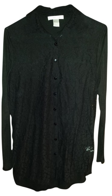 August Silk Lace Longsleeve Collar Button Up Button Down Top black