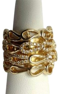 Sonia Bitton Sonia Bitton for Brilliante 14k Gold Plated 925 SS CZ Wide Loop Ring