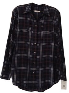 Equipment Silk Dress Up Or Down Top Blue plaid