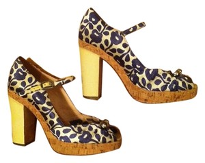 Marc Jacobs Vintage 70s Floral Blue, white, yellow Platforms
