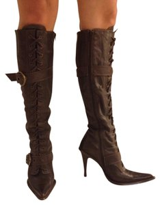 Steve Madden Knee High High Heel Brass Faux Leather Leather Dark Brown Boots