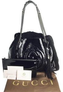 Gucci Soho Mouton Fur Limited Edition Patent Leather Tote in Black