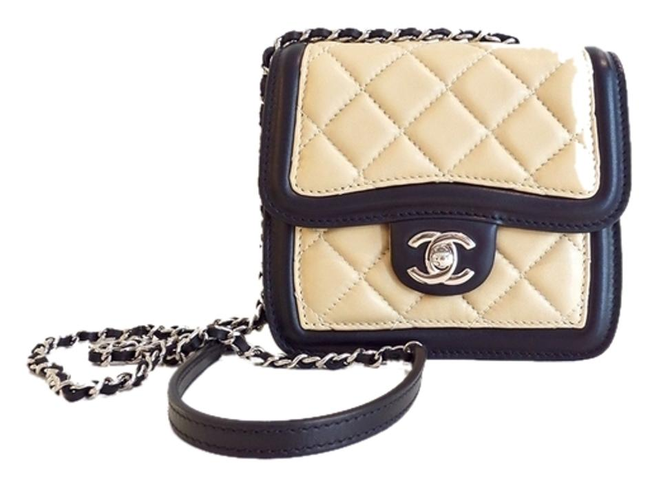 18e1c38a2e6 Chanel Classic Flap Mini Quilted Beige Black Shoulder Bag - Tradesy