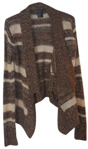Ashley By 26 International Sweater Open Front Flyaway Draped Brown Winter Shawl Cardigan
