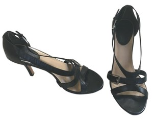 Cole Haan Open Toe black leather with silver buckle Sandals