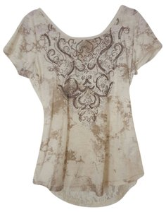 Maurices Open Back Lace Rhinestone T Shirt Cream