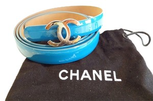 Chanel Chanel Turquoise Blue Patent Leather Logo Belt