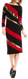 Diane von Furstenberg Dvf Gold Red Long Sleeve Dress