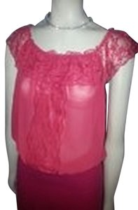 Flying Tomato Sheer Lace Trim Top Red