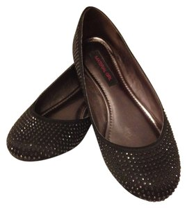 Material Girl Dazzle Studded Satin Black Flats