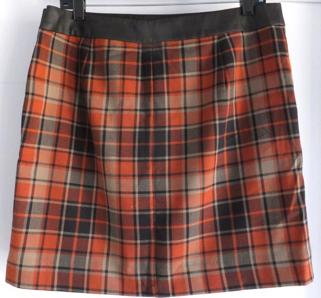 The Limited Faux Faux Leather Mini Skirt Orange and Brown Plaid
