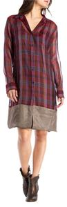 Dries van Noten short dress Burgundy, Taupe, Navy Shirt Silk Plaid on Tradesy