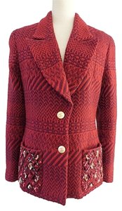 Chanel Embellished Cranberry Red Jacket