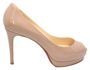 Christian Louboutin Altadama 100mm Patent Leather Beige Pumps
