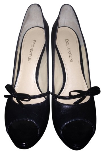 Enzo Angiolini Sexy Work Dressy Black Leather Pumps