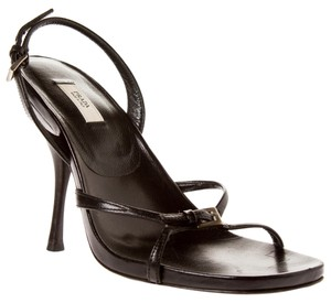 Prada Leather Thin Strap Heels High Black Sandals