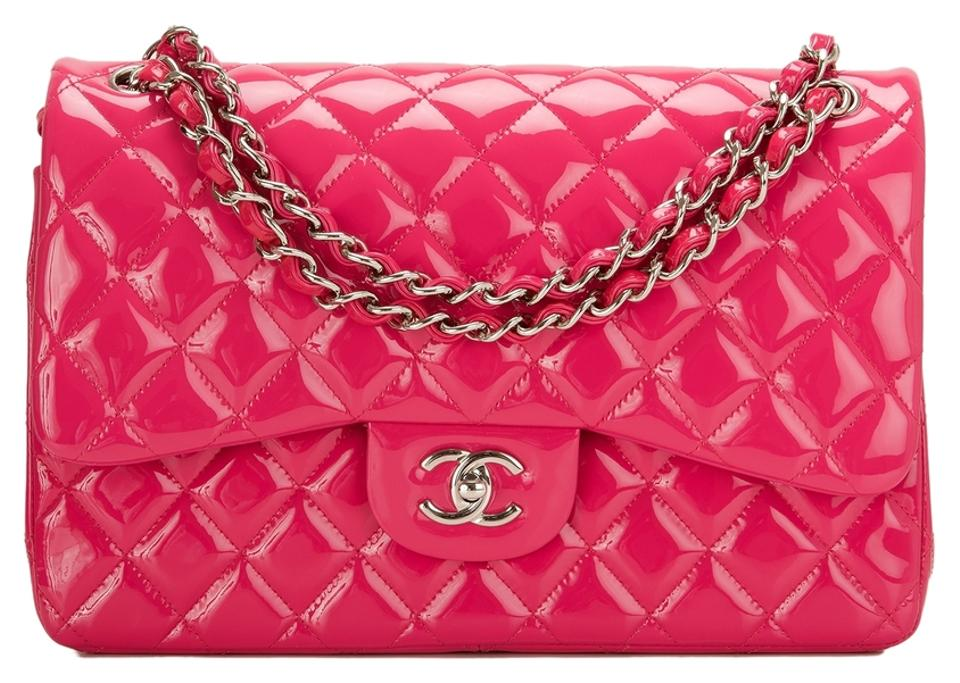 a8577db9a760 Chanel Classic Flap Fuchsia Pink Quilted Patent Jumbo Classic Double ...