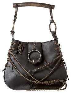 Share Spirit Leather Studded Satchel in Black