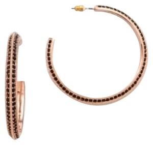 Fabulous New In Pouch Jiles and Brothers Rose Gold Black Pave Hoop Earrings